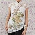 Blanco de la manera de las Nuevas mujeres Chinas 2 unid Lace Bordar Camisa Tops Phenix Tamaño Sml XL XXL XXXL Envío Libre A0048