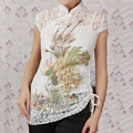 Fashion White New Chinese Women's 2pc Lace Embroider Shirt Tops Phenix Size S M L XL XXL XXXL Free Shipping A0048