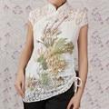 Moda Branco Novo Chinês 2 pc Lace Borde Camisa das Mulheres Topos Phenix Tamanho S M L XL XXL XXXL Frete Grátis A0048