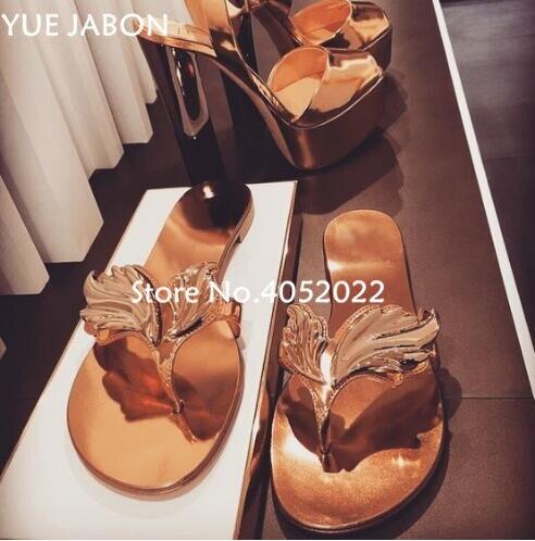 Haute qualité Top Design pantoufle sandales femmes feuille diapositives tongs appartements ange aile femmes pantoufles plage chaussures d'été diapositives - 3