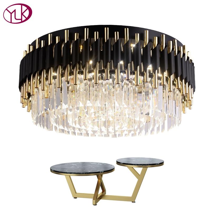 Youlaike De Luxe Noir Lustre Pour Plafond De Luxe Salon Cristal Luminaire Rond Moderne LED Lustres De Cristal
