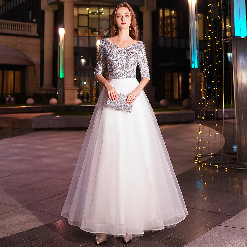 White A-line Long Evening Dresses V-neck Half Sleeves Floor Length Sequined Evening Dress Formal Party Dress Prom Dress LYFY47