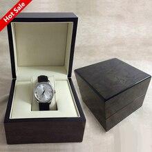 1 Rejilla Elegante Durable Negro De Madera Reloj de la Exhibición Caja de luz Caja de Relojes de Lujo de La Vendimia Titular Del Organizador Del Almacenaje de La Joyería