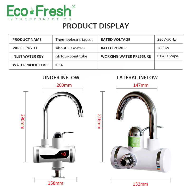 Ecofresh Electric Faucet Instant Water Heater Tap Faucet Heater Cold Heating Faucet Tankless Instantaneous Water Heater 4