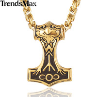 Trendsmax Silver Gold Tone 316L Stainless Steel Rock N Roll Norse Knot Viking Necklace Pendant Thor
