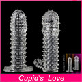 Reusable Silicone Crystal Penis Extender Sleeve Ring Delay Impotence Erection Condoms for Sex Adult Men