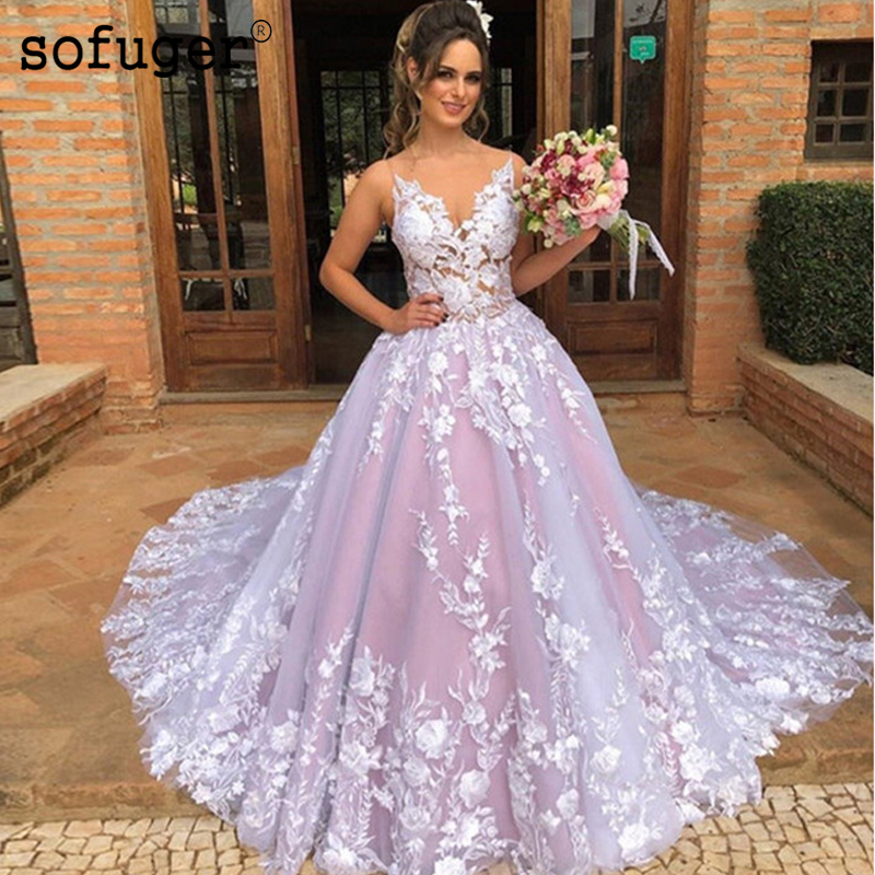 Pink V Neck Wedding Bridal Dress Sweep Train White Appliques Robe De Mariee Sofuge Boho Dubai Arabic Abiti Da Sposa Long Dresses