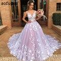 Vestido De novia rosa con cuello en V, vestido De novia, vestido blanco con apliques De Mariee Sofuge Boho Dubai árabe Abiti Da Sposa vestidos largos