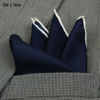 20 Options 2016 New Fashion Men Pocket Square 100 Silk Solid With White Line Handkerchief Gift