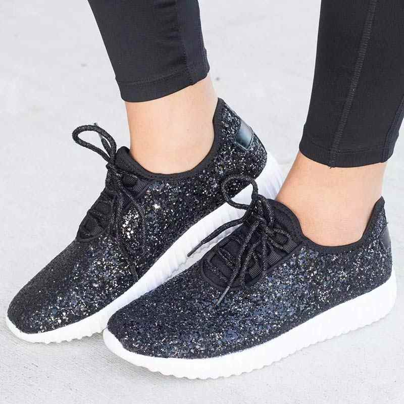 36f53c9fcfb7 ... Vulcanized Shoes Woman Sneakers Trainers Sequined Glitter White  Sneakers Sparkly Ladies Casual Shoes Bling Zapatillas Mujer ...