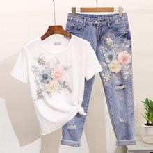 Amolapha для женщин тяжелая работа вышивка 3D футболки с цветочным узором+ джинсы комплекты одежды из 2 предметов Летние повседневные Костюмы