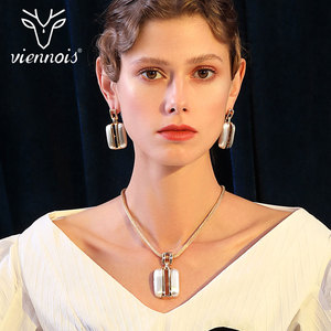 Image 4 - Viennois זהב/לערבב כסף צבע Stud עגילים גדול תליון תכשיטי סט לנשים תכשיטי סטים חדש