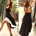 Lady Deep U Neck Backless Milk silk Long Swallow Tail Sleeveless Cocktail Party Dress 3Sizes New Free Shipping 12