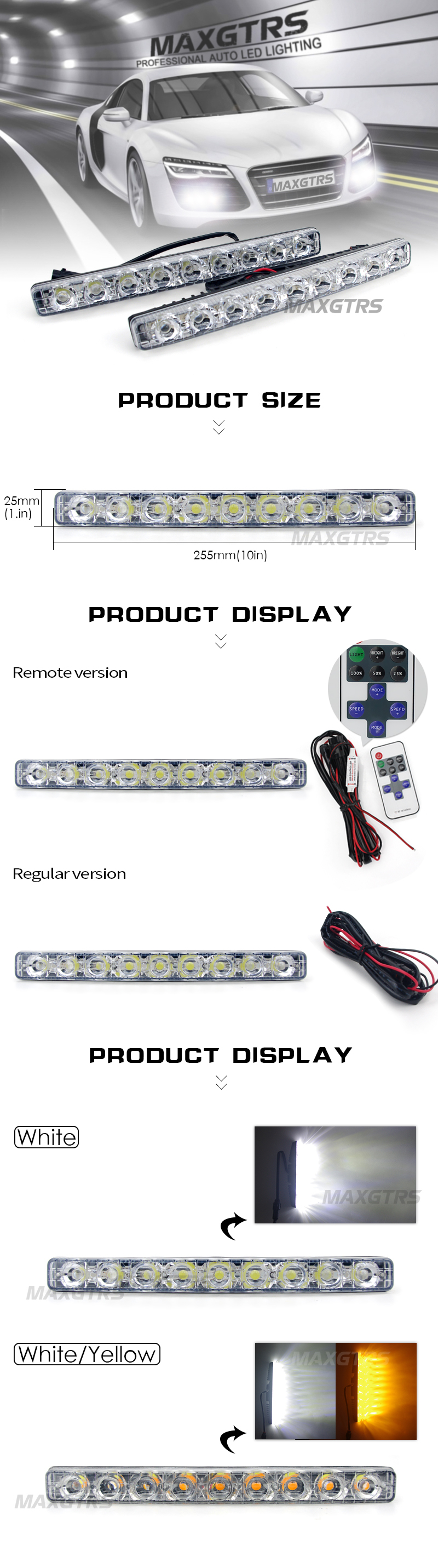 2x High Power Folw 9 Led 18w Car Light Drl Daytime Running Lights Wiring Instructions Source Waterproof Styling White With Amber Turn Signal