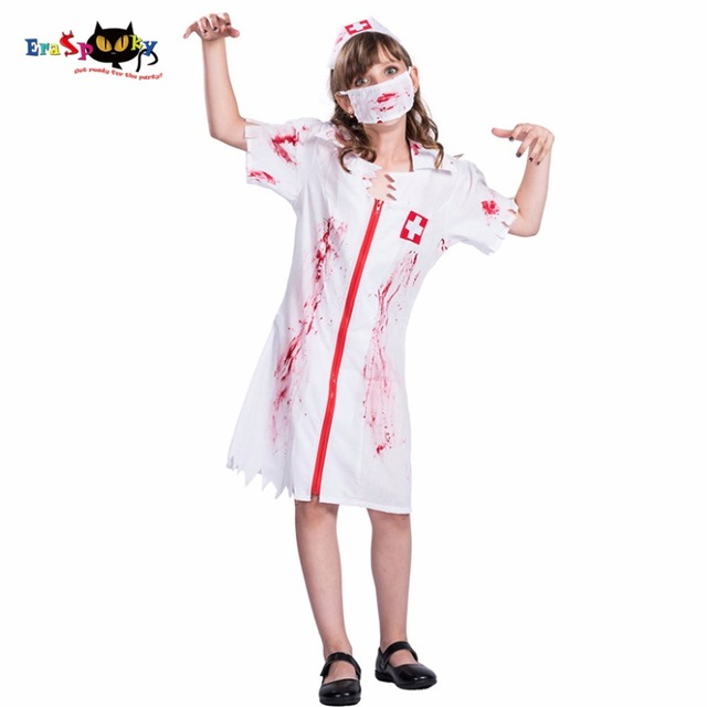 2017 Cheap Kids Zombie Nurse Cosplay Dress Mask Hat Set Costumes Scary Halloween Costumes Bloody Printed  sc 1 st  AliExpress.com & 2017 Cheap Kids Zombie Nurse Cosplay Dress Mask Hat Set Costumes ...