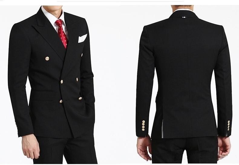 Fashionable Double Breasted Black Groom Tuxedos Peak Lapel Groomsmen Mens Wedding Suits Blazers (Jacket+Pants+Tie) W:640
