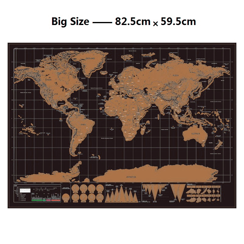 Deluxe Erase World Travel Map Scratch Off Travel Scratch Map 82.5x59.4cm Room Home Office Decoration Wall Stickers Big World Map