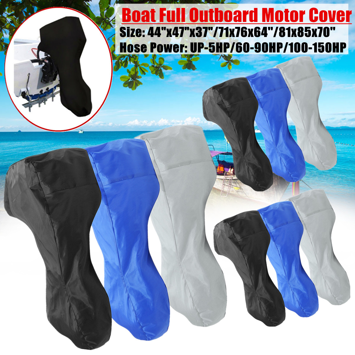60-150HP Boat Engine Cover Full Outboard Motor Cover Waterproof Oxford Cloth 3 Color/Size image