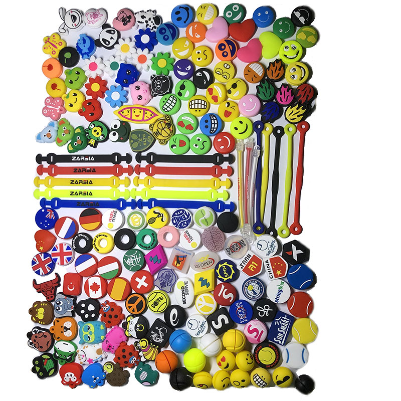 100 Pcs Various Types Tennis Racket Vibration Dampeners,Tennis Damper Dampener Shock,tennis Accessories