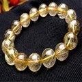 13.5mm Genuine Natural Yellow Golden Hair Needle Titanium Rutilated Quartz Crystal Round Bead Stone Fashion Stretch Bracelet