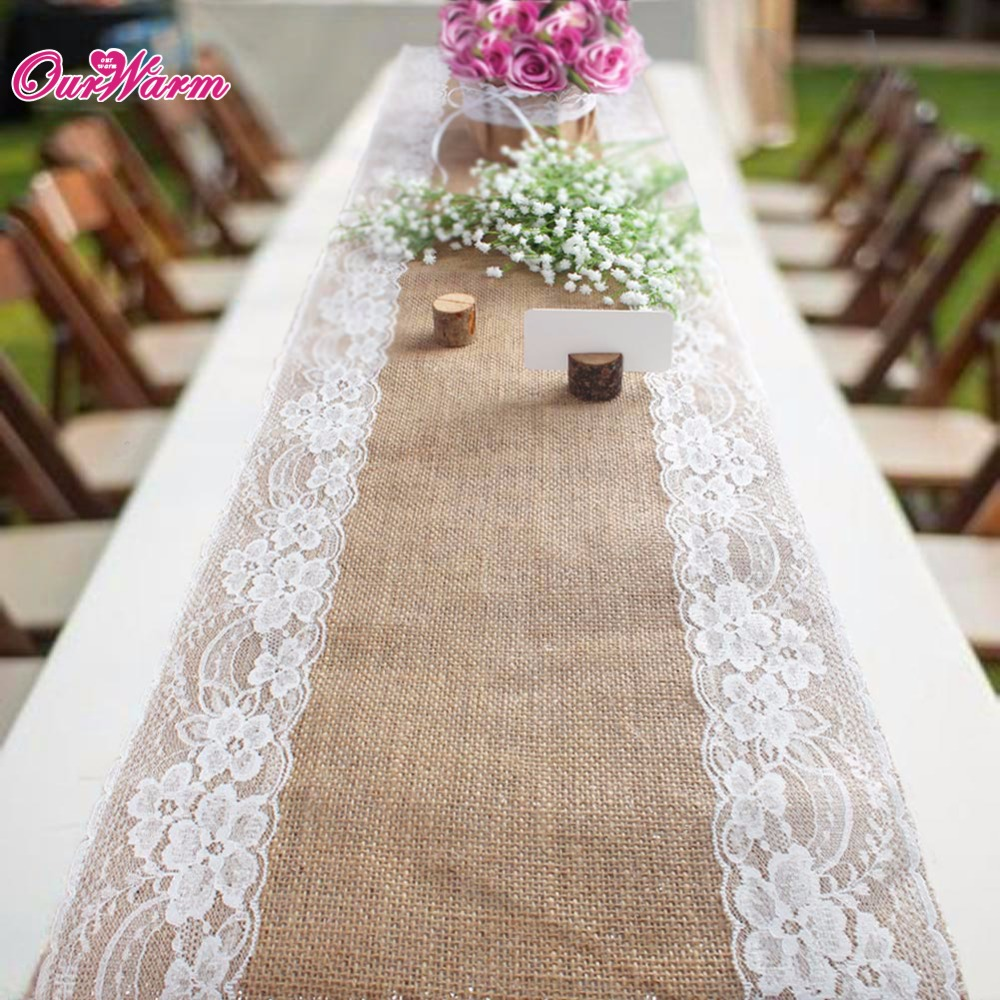 10 pcs 30x275 cm Serapilheira Lace Tabela Runner Hessian Vintage Natural Juta Country Party decoração Do Casamento