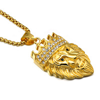 HIP Hop Gold Crown King Lion Necklaces Stainless Steel Iced Out Crystal Bling Animal Pendants For