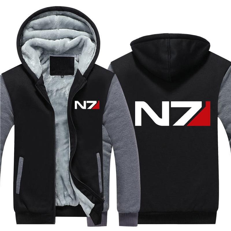 Erkek Kıyafeti'ten Kapşonlu ve Kapşonsuz Svetşörtler'de 2019 Erkekler Mass Effect N7 fermuarlı ceket Tişörtü Kalınlaşmak Hoodie Ceket Rahat tişörtü erkekler moda hoodie streetwear'da  Grup 1