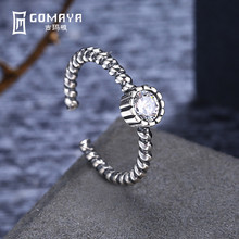 GOMAYA 100% Authentic Antique 925 Sterling Silver Rings with AAA Zirconia Women  Hot Selling Adjustable Ring 2017 hot selling 100