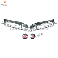 1 Pair Chrome Flame Motorcycle Saddlebag Latch Cover case for Harley Touring FLHT FLHX 1993 2013