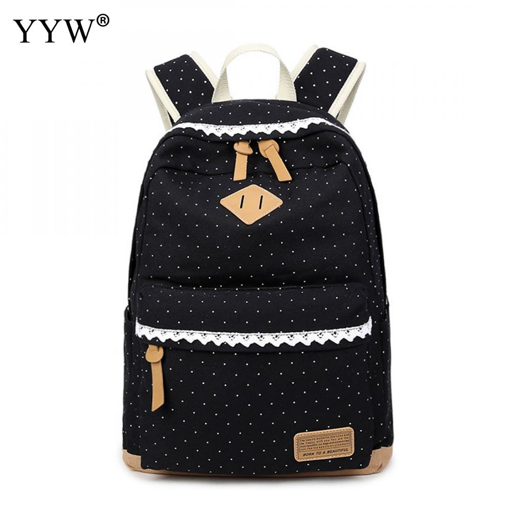 YYW Canvas Printed Women Backpack Lace Dots School Backpack For Girl Leisure Backbags Travel Backpacks Mochila Escolar Feminina