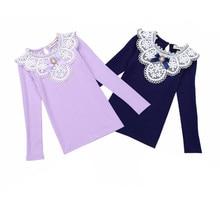 Printemps Hiver 2016 Filles Blouses Chemises Mode Chaud Solide À Manches Longues En Dentelle Fleur Blouses Enfants Filles Coton Vêtements