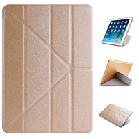 Multi Fold Deformation Leather Plastic Protective Flip Case For IPad Air 2