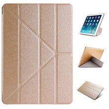 Multi-fold deformación protectora de plástico de cuero flip case para ipad air 1 ipad 2017