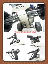 TRAXXAS X-MAXX Guard Spare Parts Metal protection plate + wheelie bar with 2 wheels