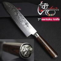 HAOYE 7 inch damascus santoku knife Japanese kitchen knives vg10 damascus steel sushi fish knife 2018 new beautiful statue gift