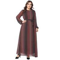 e5b866248e178 2019 Spring New Fashion Chiffon Long Dress Long Flare Sleeve Self Belted  Striped Muslim Women Dress