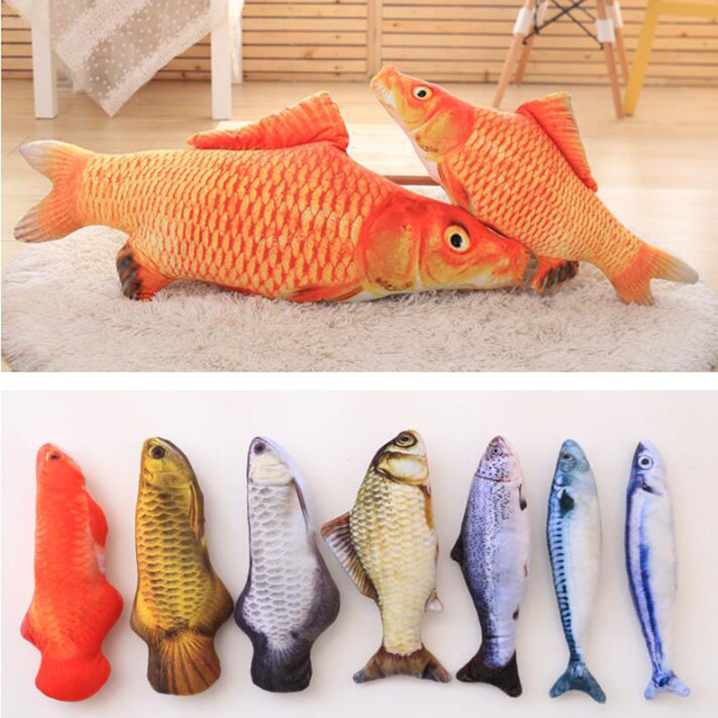 Plush Creative 3D Squid Fish Styling Cat Toy As A Gift Cute Plush Simulation Fish Pillow Cat Mint Fish Funny Cat Toy Baby Doll