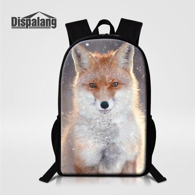 Dispalang الأزياء حقيبة المدرسة الثعلب الطباعة النساء الأطفال حقيبة مدرسية الاطفال عودة حزمة رجل حقيبة السفر حقائب للمراهقين