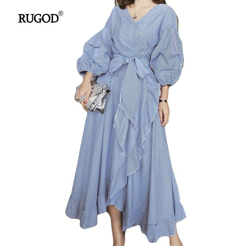 RUGOD 2019 D'été Femmes Élégant En Cascade robe à volants Lanterne Manches Irrégulière décontracté Long magnifique robe pour Dames Robes