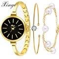 Роскошные Кварцевые Часы Женщины 2017 Новый Xinge Сплава Розовое Золото Ювелирные Изделия Браслет Часы Наручные часы Женщины Одеваются Популярные Часы Набор