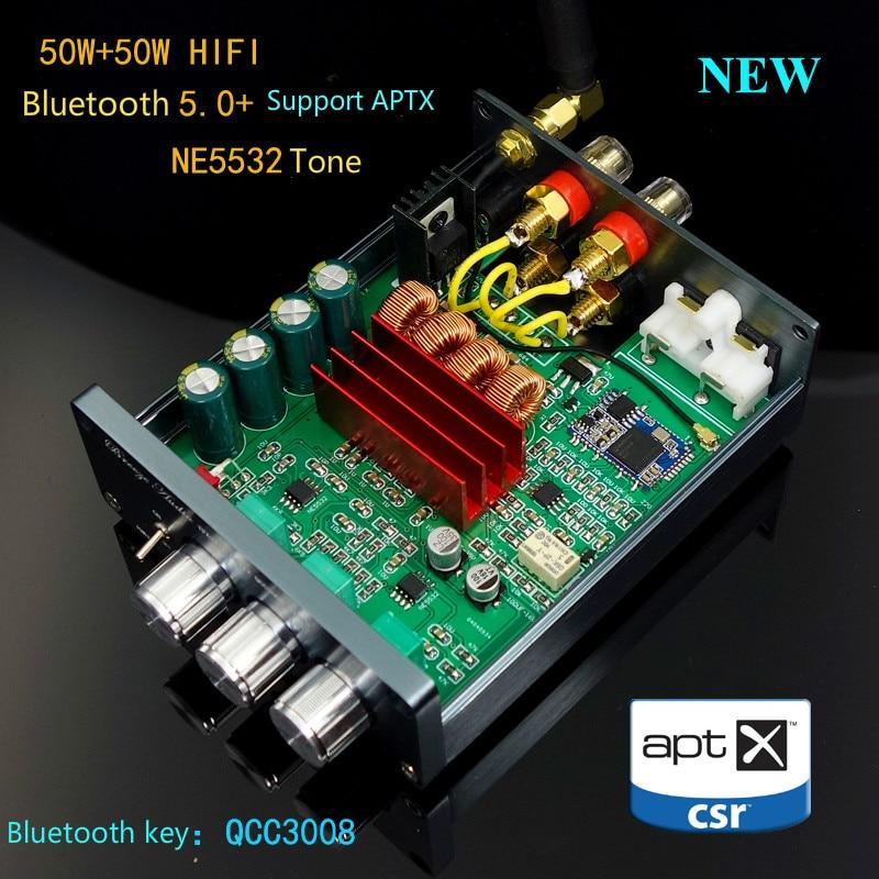 GHXAMP HIFI Stereo TPA3116 Bluetooth 5.0 Versterker Luidspreker Machine 50 W + 50 W QCC3008 NE5532 Tone DC12V 24V APTX Nieuwe 2019-in Versterker van Consumentenelektronica op  Groep 1