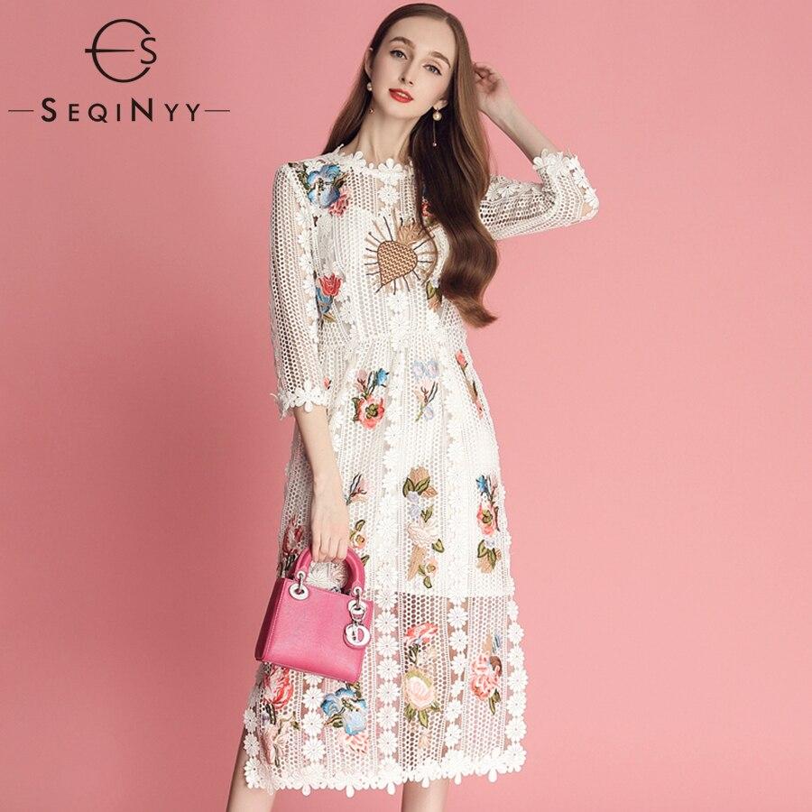 SEQINYY elegancka długa suknia 2019 wczesną wiosną nowe mody kobiety wysokiej jakości 3/4 rękaw koronki kwiaty haft Hollow sukienka Midi w Suknie od Odzież damska na  Grupa 1