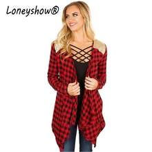 Loneyshow 2017 New Arrival Autumn Vintage Black Red Plaid Open Stitch Coat Women Bling Sequins Patchwork
