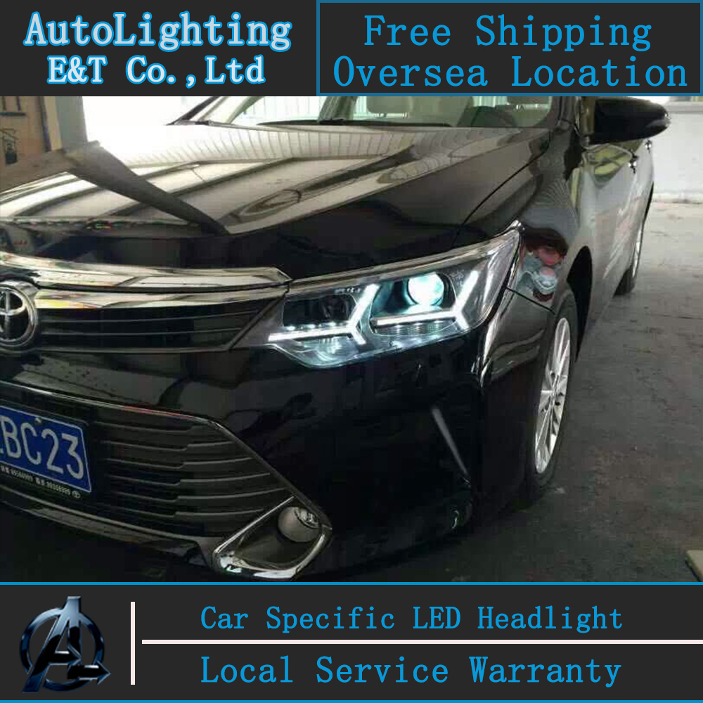 Car styling Head Lamp for New Camry led headlight assembly 2014-2015 Toyota camry led drl H7 with hid kit 2 pcs. car styling head lamp for bmw e84 x1 led headlight assembly 2009 2014 e84 led drl h7 with hid kit 2 pcs