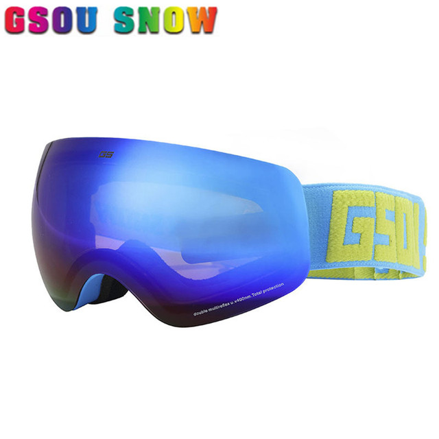 aa8f09987f1 Gsou Snow Brand Winter Men Women Ski Goggles Anti-fog Snowboard Protection  Unisex Professional Skate