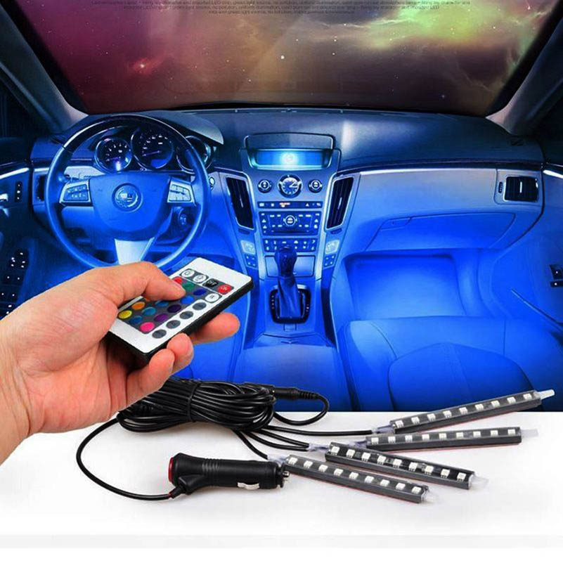 4 in 1 Remote Control RGB Decoration Light Car Interior Lights Waterproof Music Control Car Decorative Atmosphere Light