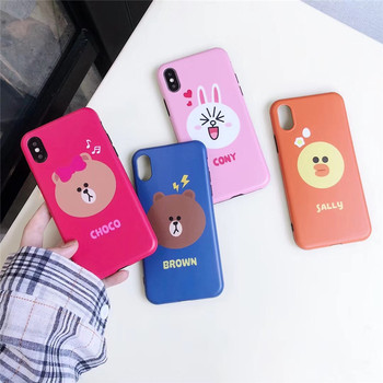 For iPhone XS Case Cartoon Cute Phone Case For iPhone XS Max XR X 6 6S 7 8 Plus Lovely Bear Brown Bunny Cony Soft IMD Cover iPhone XS