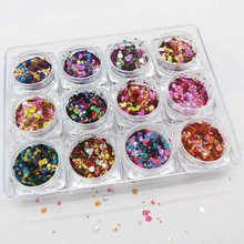 12ขวด/ชุดHolographic Metallic Glitter Dotsตัวทำละลายสำหรับเล็บ * เทศกาลGlitter * 12สีChunky glitter