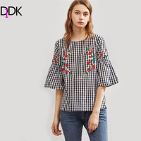DIDK Symmetric Flower Embroidered Fluted Sleeve Checkered Top Black And White Plaid Three Quarter Length Sleeve