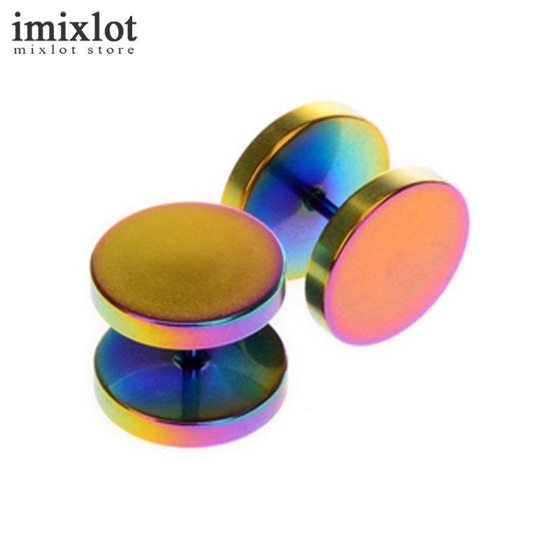 Imixlot 1pair Punk Double Sided Round Titanium Steel Earrings Men Women 4 Color Fake Ear Plugs Gothic Barbell Stud Earring
